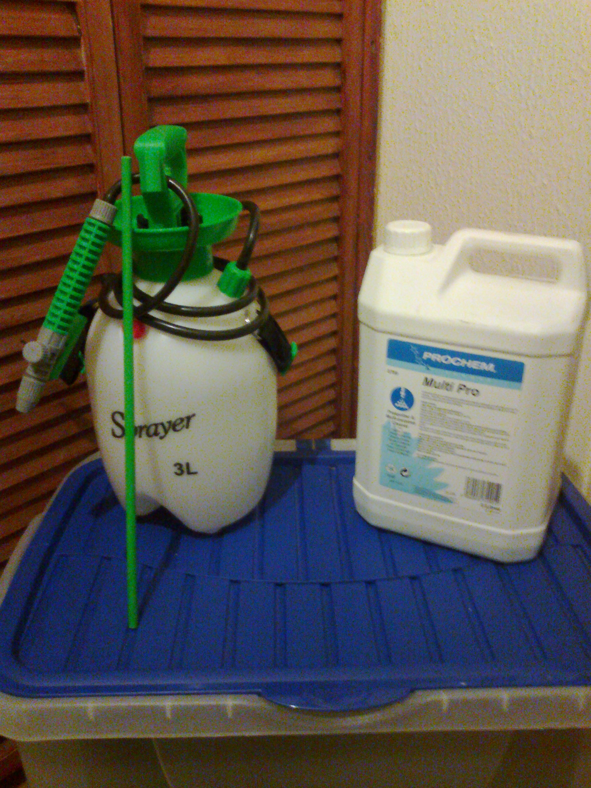 You will need a pump up pressure sprayer and a pre-spray solution.