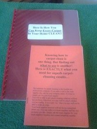 Carpet cleaning guidebook shows how to use carpet stain removers.